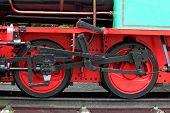 picture of locomotive  - iron wheel of an old steam locomotive - JPG