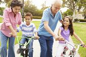 picture of 70-year-old  - Grandparents Teaching Grandchildren To Ride Bikes In Park - JPG