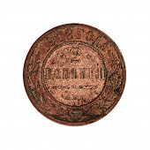 picture of copper coins  - Old coin isolated on the white background - JPG