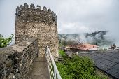 pic of fortified wall  - City walls in Sighnaghi town in Kakheti region of Georgia - JPG