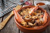 picture of clam  - clams and prawns at paprika spanish seafood style - JPG