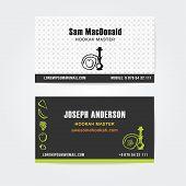 image of hookah  - Business card design  vector template of hookah shisha bar - JPG