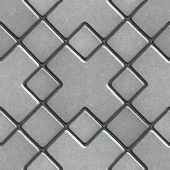 foto of paving  - Gray Paving  Slabs as Large Rhombuses with a Cross in the Center - JPG