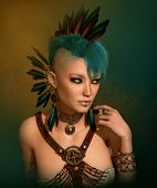 foto of mohawk  - 3d computer graphics of a young woman with a Steampunk outfit feather jewelry and a Mohawk hairstyle - JPG