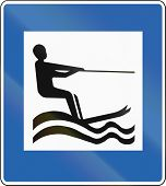 picture of nordic skiing  - Icelandic service road sign  - JPG