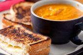 image of tomato sandwich  - grilled cheese sandwich with chickpea and tomato soup - JPG
