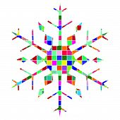 stock photo of christmas ornament  - Geometric multicolored snowflake or bauble bright colors - JPG