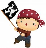 picture of pirate flag  - a vector of a kid waving pirate flag - JPG