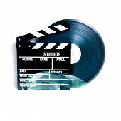 picture of mm  - Movie clapper board and 35 mm film reel on white background vintage color effect - JPG