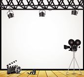 stock photo of stage theater  - Illustration of a vintage theater spotlight on a white background on the stage - JPG