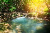 foto of waterfalls  - Waterfalls In Deep Forest at Huai Mae Khamin Waterfall in National Park Kanchanaburi Thailand - JPG