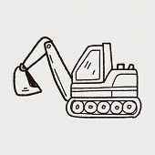 stock photo of earth-mover  - Excavator Doodle - JPG