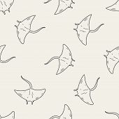 stock photo of stingray  - Stingray Doodle - JPG