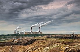 stock photo of open-pit mine  - Open pit mine and power plant - JPG