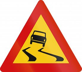 picture of slippery-roads  - Road sign in Iceland  - JPG