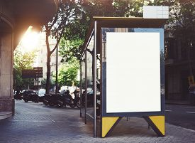 stock photo of bus-shelter  - White mock up on the bus stop - JPG