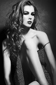 foto of slender  - Portrait of languishing sexual slender young light - JPG
