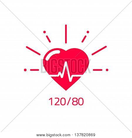poster of Blood pressure vector icon, heart cheering cardiogram, good health logo, healthy pulse flat symbol, medical pulsometer element, heartbeat label hospital equipment concept design isolated on white sign