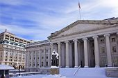 Us Treasury Department Albert Gallatin Statue Snow Washington DC