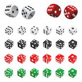 collection of dice vector (four color)
