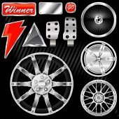 sport car equipments (rim, graphic, pedal)