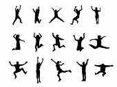 image of person silhouette  - people silhouettes jumping vector on a white background - JPG
