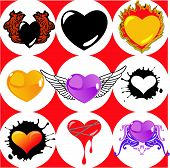 Nine Brand New Hearts, Wings And Fire. poster
