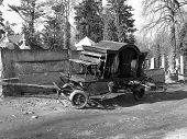 foto of hearse  - An old death car in the graveyard - JPG