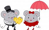 Illustration of a Male Mouse Giving a Female Mouse a Heart-shaped Cheese