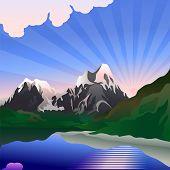 Постер, плакат: Вектор пейзаж с восход солнца над горное озеро