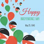 Постер, плакат: Independence Day Flat Greeting Card Jordan Independence Day Jordanian Flag Balloons Patriotic Post