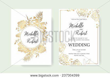 Wedding Invitation Floral Invite Thank You Label Card Vector