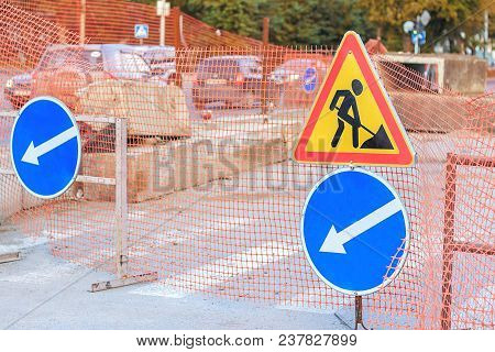 poster of Repair Work. Road Repair In City Street  In Autumn. City Street Construction Site With Barricades, S