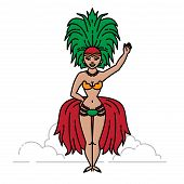 Outline Cabaret Singer Brazilian Showgirl. Colorful Carnival Parade. poster
