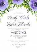 Wedding Floral Invite, Invitation Save The Date Card Design With Watercolor Ultra Violet Lavender An poster