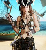 Alluring Sexy Pirate Female Posing With A Cutlass Sword And Pistols On A Coastline With Her Pirate S poster