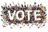 People That Vote. Large Group Of People Walking To And Forming The Shape Of The Word Text Vote On A  poster
