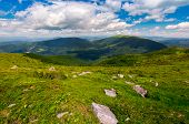 Carpathian Alps With Huge Boulders On Hillsides. Beautiful Summer Landscape On Overcast Day. Locatio poster