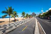Cycling Path Along Ipanema Beach In Rio De Janeiro, Brazil poster