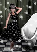 Portrait Of A Pin-up Vintage Goth Girl. 3d Illustration. poster