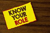 Handwriting Text Writing Know Your Role. Concept Meaning Define Position In Work Or Life Career Life poster