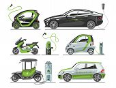 Electric Car With Solar Panels Eco Transport Vector Illustration Automobile Socket Electrical Car Ba poster