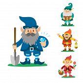 Fairy Tale Fantastic Gnome Dwarf Elf Character Poses Magical Leprechaun Cute Fairy Tale Man Vector I poster