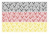 German Flag Collage Organized Of Mining Hammers Design Elements. Vector Mining Hammers Items Are Org poster