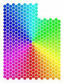 Hexagon Spectrum Utah State Map. Vector Geographic Map In Bright Colors On A White Background. Spect poster