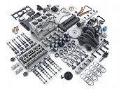 Car Engine Disassembled. Many Parts On White Background. 3d Illustration poster