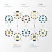 Audio Icons Colored Line Set With Music Level, Fanatic, Radio And Other Set Elements. Isolated Vecto poster
