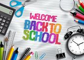 Welcome Back To School Vector Design Template With School Supplies, Education Elements And Colorful  poster