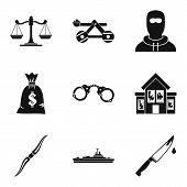 Military Hardware Icons Set. Simple Set Of 9 Military Hardware Vector Icons For Web Isolated On Whit poster