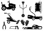 Set Of Silhouettes Of Garden Equipment For Grass Mowing. Black And White Vector Icons Illustration.  poster